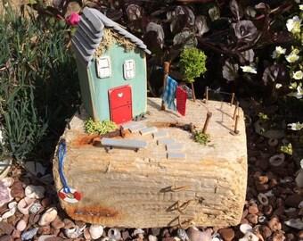 Driftwood House Cottage Pretty Gift Art Nautical Seascape Handmade
