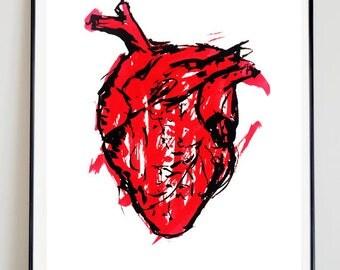 Heart Print, handmade  A3 Print