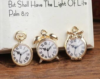 Gold alarm clock Pocket Watch charm set two to four