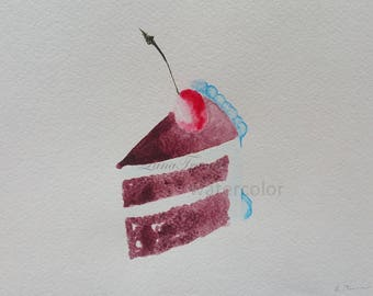 Chocolate cake in watercolour