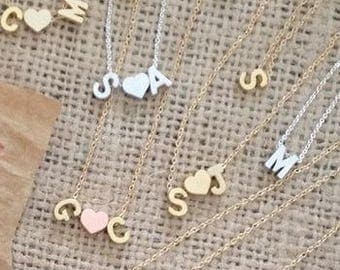Dainty Lowercase Initial Necklace I Gold Initial Necklace I Initial and Heart Necklace I Initial Necklace