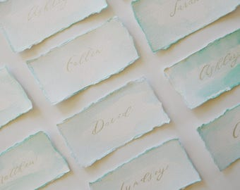 Wedding Place Cards, Watercolor Mint