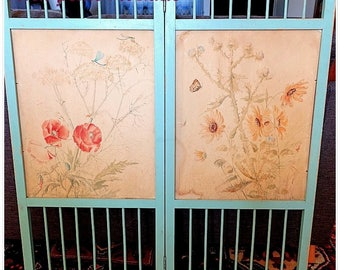Former doll screen two sheets hand painted