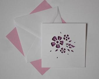Paper Cut Card - Flower