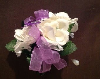 Ready to Ship Silk Flower Ivory and Purple pin on corsage