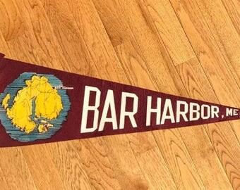 Vintage Felt Pennant Bar Harbor ME