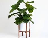"XLarge Mid-Century Modern Planter, Plant Stand with 12"" Ceramic Pot"
