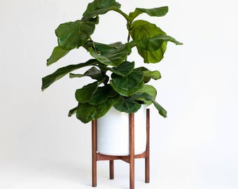 "Mid-Century Modern Planter, Plant Stand with 10"" Ceramic Pot"
