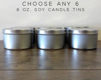 Choose Any 6 Soy Candles Sampler Pack, 8 oz Soy Candle Tins, Soy Wax Candles, Scented Candles, Soy Candles Handmade, Modern Farmhouse Decor