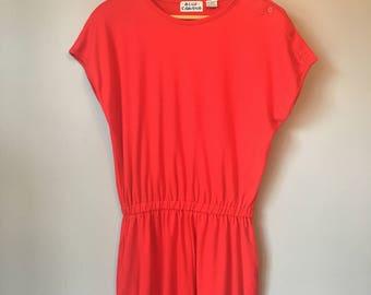 Vintage Women's 80s Red Jumpsuit Romper Shorts