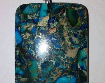 Green and Blue Agate Stone Pendant Necklace on Leather Chain