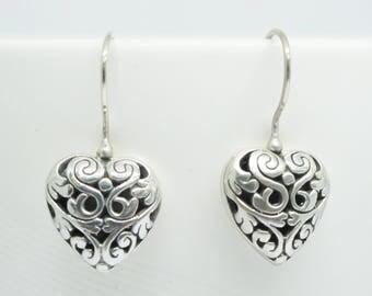 sterling silver earrings, 925 sterling silver earrings, heart shape silver earrings