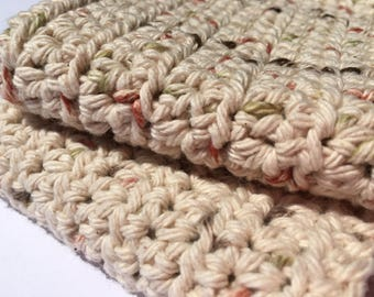 Set of 2 Handmade Crochet Washcloths in Natural Flecks // Housewarming Gifts // Kitchen & Bath