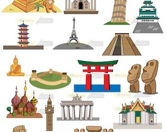 80% off Promo sale,World landmarks Design digital clipart set,clipart commercial use, vector graphics,