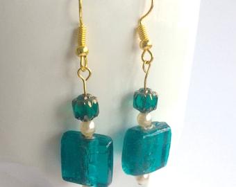Original design handmade exotic green glass and cream pearl earrings