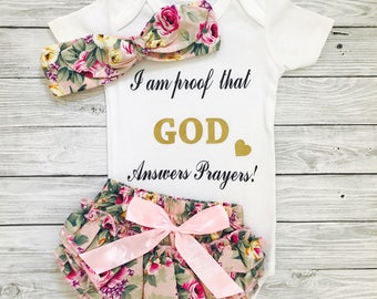 Baby Girl Outfit, Gods Gift, I Am Proof God Answers Prayers, Baby Bodysuit, Answered Prayer, Religious Baby Shirt,Adoption Day Shirt