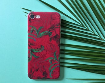 Botanical Design Red/Pink Phone Cover, iPhone 6 Case, iPhone 7 case, iPhone 5 Case