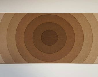 "Awesome Mid Century Vintage 70s retro stretched fabric framed art wall hanging-Verner Panton ""Brown Hypnosis"""