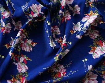 Japanese Blossoms Pink / Royal Blue Viscose Fabric