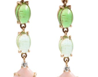 18 kt gold earrings, tourmaline, mother of Pearl and diamonds, hand finished