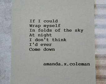 Poetry Print| Amanda.x.Coleman| Come Down