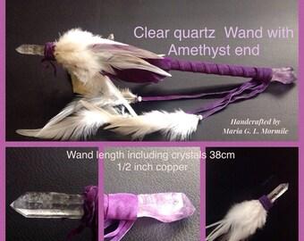 Clear Quarts & Amethyst Crystal Wand in 1/2 inch copper