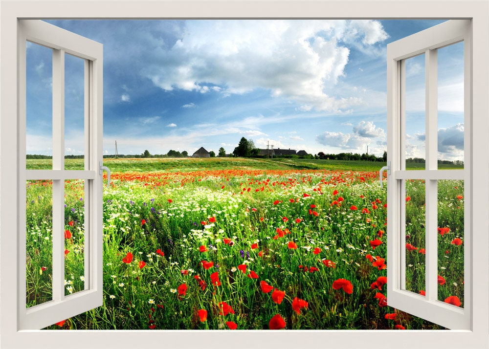 Wandtattoo blumen rote mohnfeld wandtattoo 3d fenster - Fenster mit aussicht ...