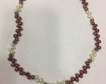 """Red and White zigzag pearls necklace 17"""" with Garnet pendant and an extension"""