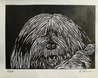 Fluke - Old English Sheepdog Lino Print Dog Art