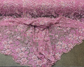 Super heavy Beaded Mesh Lace Fabric bridal wedding multi color Flower pink. Sold by the yard.