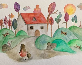 cottage and little girl