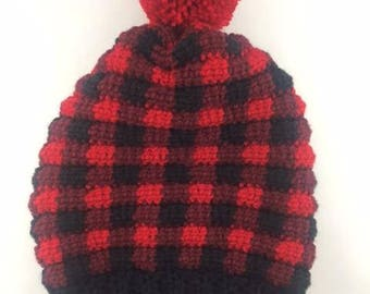 Buffalo Plaid Slouch Beanie