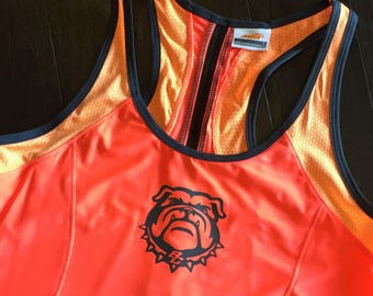 WOMENS hot orange bulldog tank