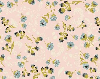 Flourish Aglow in Knit - Artgallery Fabric - Cotton Spandex Jersey Knit fabric - Peach floral - Peach Floral print Knit