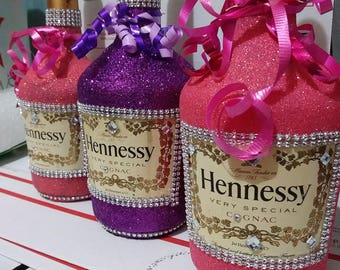 Glitter Hennessy Bottle With Rhinestones/ Without Rhinestones