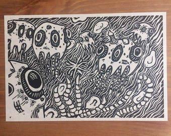 Streamers | Linocut Print