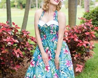 Blue Hawaiian Pin Up Halter Dress-1950s Inspired- 50s Style-Full Circle Skirt-Swing Dress-Rockabilly-Tiki-Cruise-Resort-Pinup Look