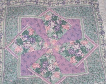 """Hand Sewn Quilted Lap Warmer (42.5""""L X33"""" W) """"The Lavender Dream"""""""