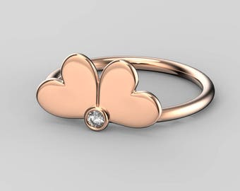 Double heart ring • Rose gold ring • Double heart • Heart ring • Heart ring rose gold • Solid gold ring • Love ring • Gift for her