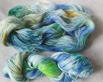 Blue Green, hand-dyed sock yarn