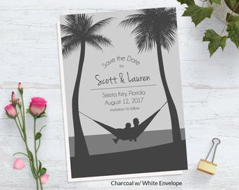 Beach Save the Date Card ~ Tropical Save the Date ~ Beach Wedding Save the Date ~ Custom Wedding Postcard ~ Destination Wedding ~ Ocean