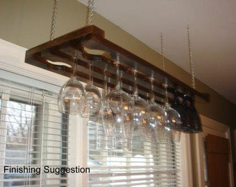 Wooden Hanging Wine Glass Rack 3 Row 32 Inch