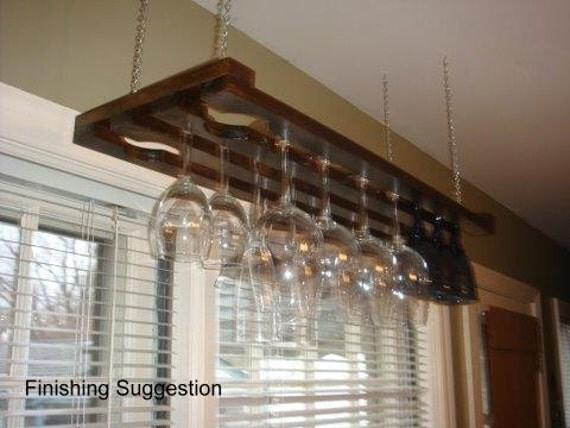 3 Row 32 Inch Hanging Wine Glass Rack