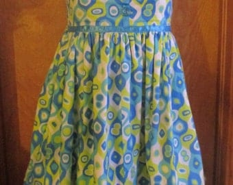 Hand Made Green & Blue Shapes Dress - Size child's 8