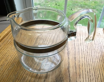 Vintage Pyrex Coffee Percolator Stainless Rim 4 Cup 1950 Era No Insides or Lid