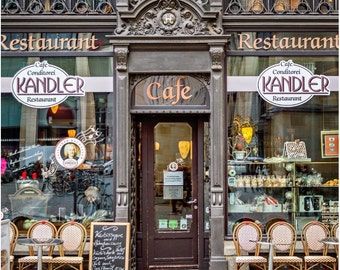 Cafe Kandler Print on Canvas, Leipzig Germany Restaurant Pastry Shop, Travel Photography, 16x16 or 20x20 Large Wall Art