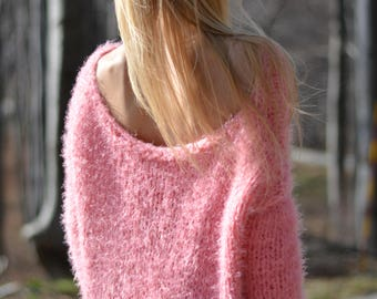 READY handmade sweater summer soft jumper slouchy pullover off-shoulder fuzzy sweater Pink loose knit sweater chunky summer jumper Dukyana