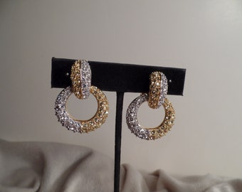 Dangle Hoop Earrings with Clear and Canary Yellow Rhinestones Signed Nolan Miller
