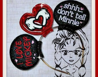 I LoVE MiC, Shhh DoNT TeLL MiN (3 Piece) Mr Miss Mouse Ears Headband ~ In the Hoop ~ Downloadable DiGiTaL Machine Emb Design by Carrie