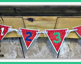 NUMBERs 0-9 Applique Border Motif Edge, Birthday, PeNNANT Banner ~ In the Hoop ~ Downloadable DiGiTaL Machine Embroidery Design by Carrie